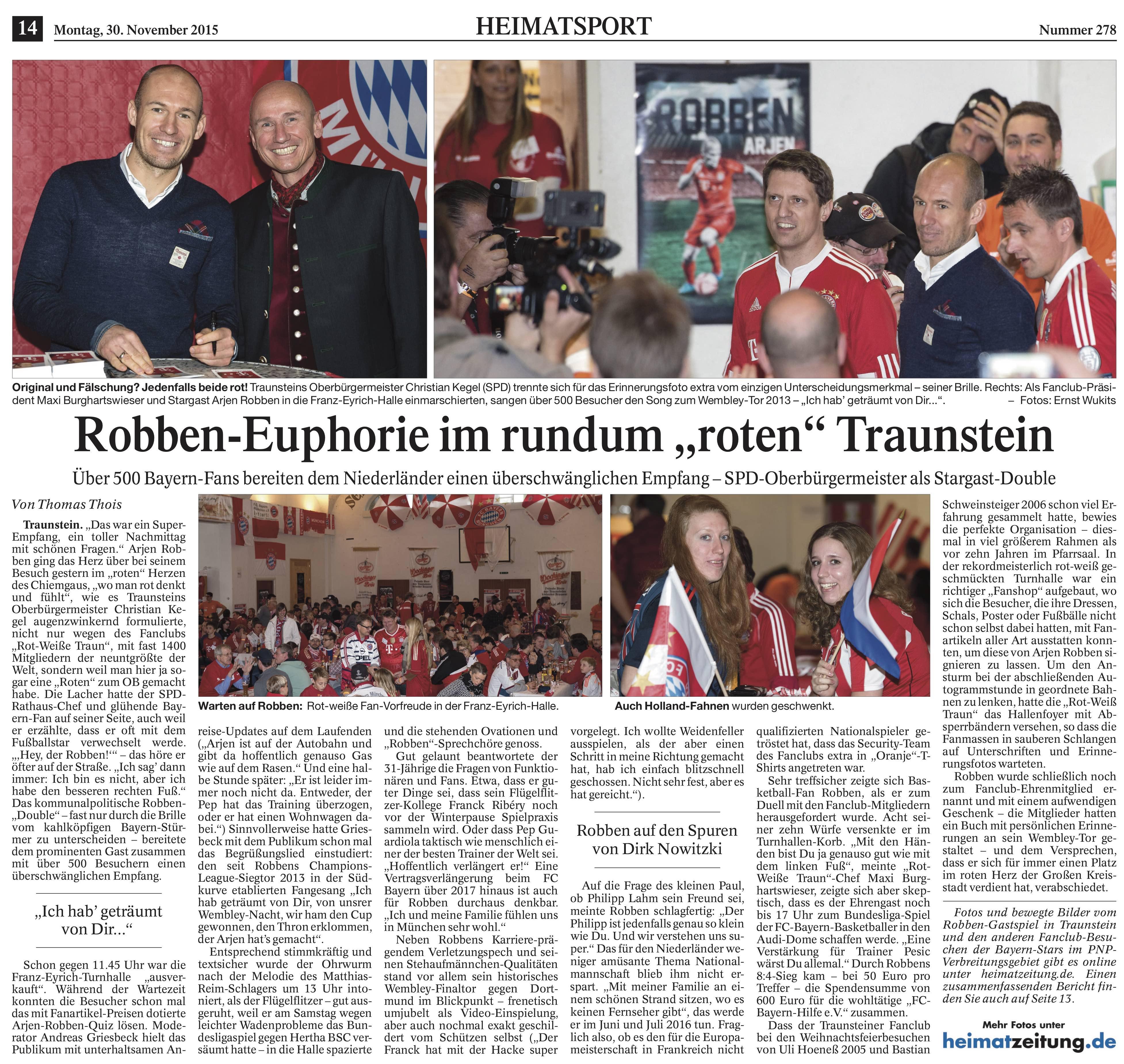 Zeitungsartikel Besuch Robben